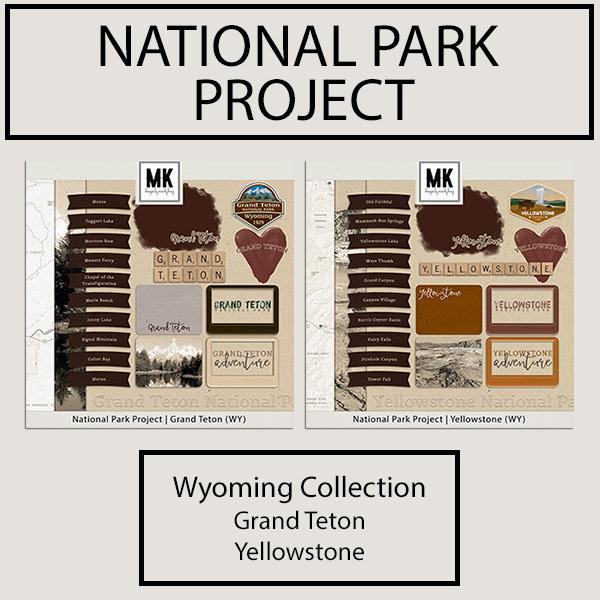 National Park Project Wyoming Collection Digital Art - Digital Scrapbooking Kits