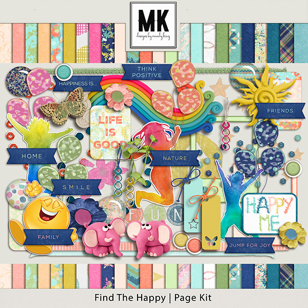 Find The Happy Page Kit Digital Art - Digital Scrapbooking Kits