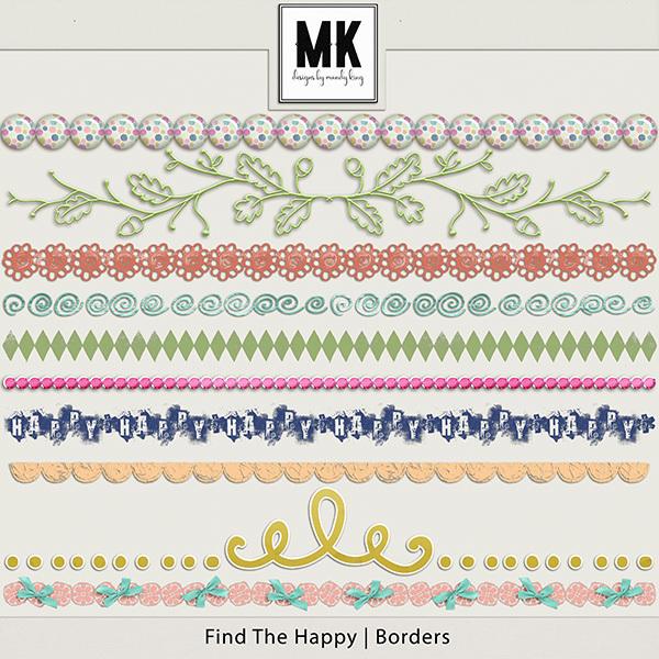 Find The Happy Borders Digital Art - Digital Scrapbooking Kits