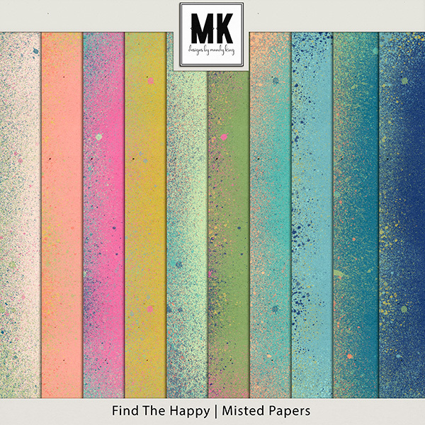 Find The Happy Misted Papers Digital Art - Digital Scrapbooking Kits