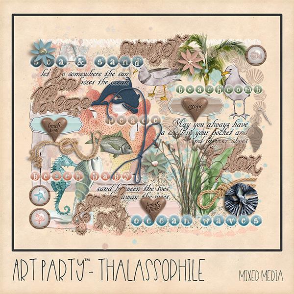 Thalassophile Mixed Media Embellishments Digital Art - Digital Scrapbooking Kits