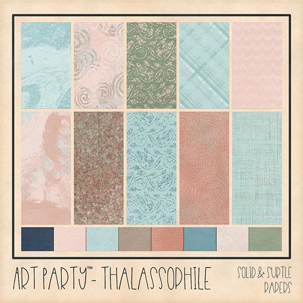 Thalassophile Solid & Subtle Papers Digital Art - Digital Scrapbooking Kits