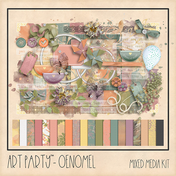 Oenomel Mixed Media Kit Digital Art - Digital Scrapbooking Kits