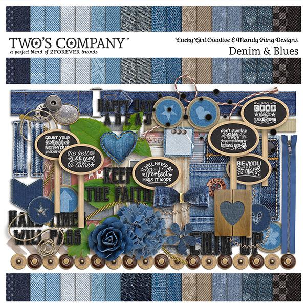 Denim & Blues Page Kit Digital Art - Digital Scrapbooking Kits
