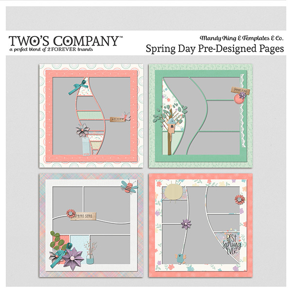 Spring Day Pre-Designed Pages Digital Art - Digital Scrapbooking Kits