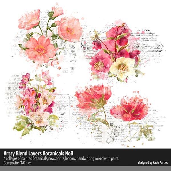 Artsy Blend Layers Botanicals 08 Digital Art - Digital Scrapbooking Kits