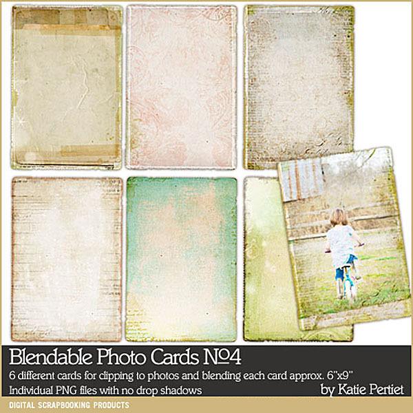 Blendable Photo Cards 04 Digital Art - Digital Scrapbooking Kits
