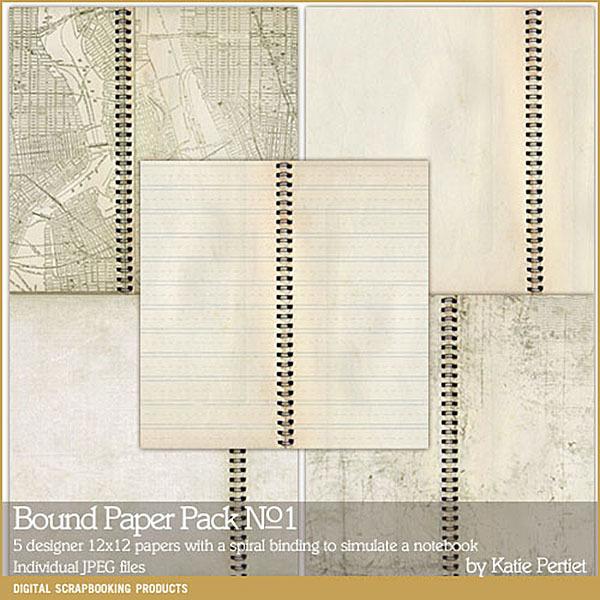 Bound Paper Pack 01 Digital Art - Digital Scrapbooking Kits