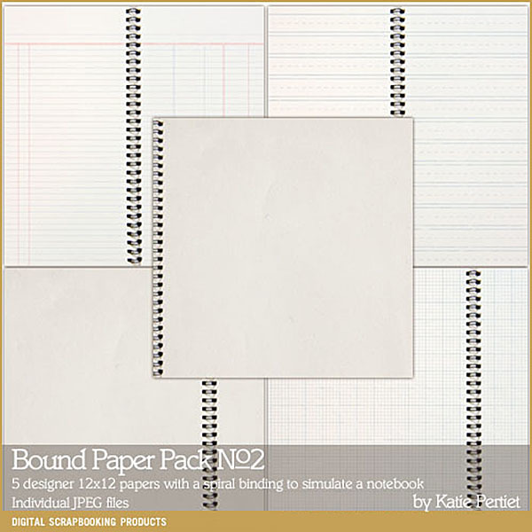Bound Paper Pack 02 Digital Art - Digital Scrapbooking Kits