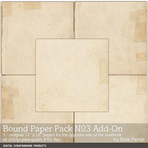 Bound Paper Pack 03 Add-on Digital Art - Digital Scrapbooking Kits