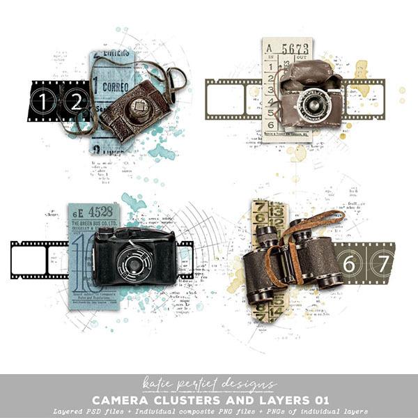 Camera Clusters and Layers Digital Art - Digital Scrapbooking Kits