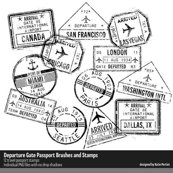 Departure Gate Passport Brushes and Stamps Digital Art - Digital Scrapbooking Kits