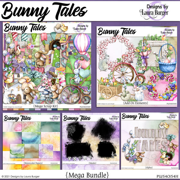 Bunny Tales Mega Bundle Digital Art - Digital Scrapbooking Kits