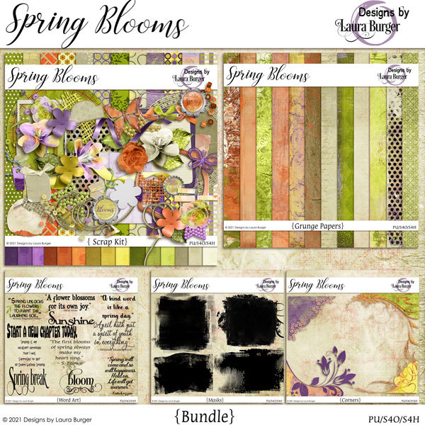 Spring Blooms Bundle Digital Art - Digital Scrapbooking Kits