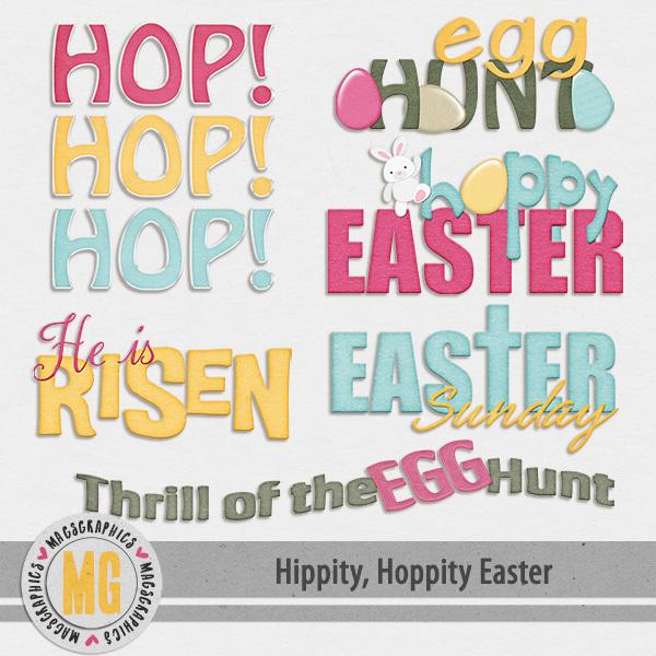 Hippity Hoppity Easter Word Art Digital Art - Digital Scrapbooking Kits
