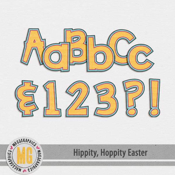 Hippity Hoppity Easter Alpha Digital Art - Digital Scrapbooking Kits