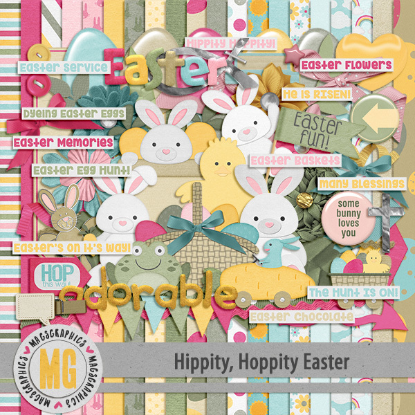 Hippity Hoppity Easter Kit Digital Art - Digital Scrapbooking Kits