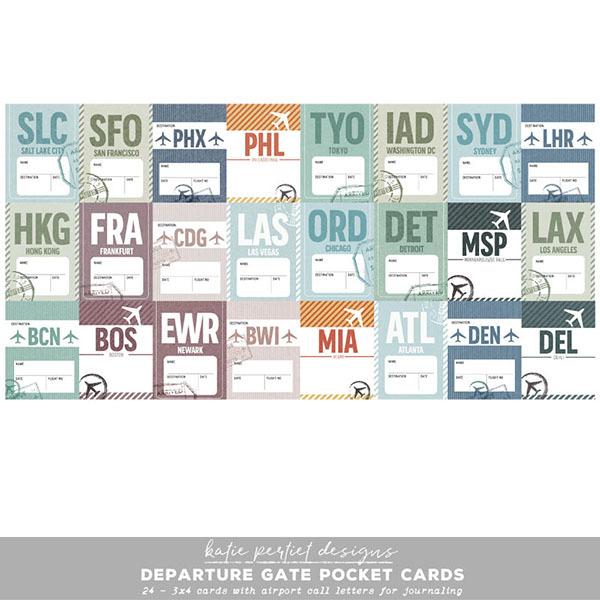 Departure Gate Pocket Cards Digital Art - Digital Scrapbooking Kits