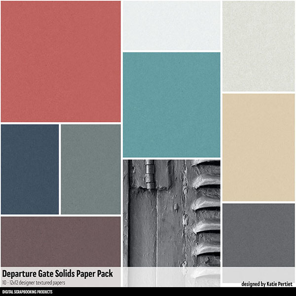 Departure Gate Solids Paper Pack Digital Art - Digital Scrapbooking Kits