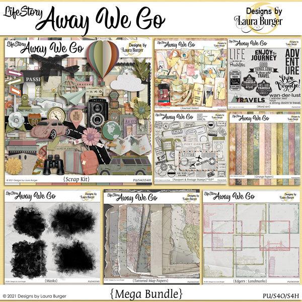 Life Story-Away We Go Mega Bundle Digital Art - Digital Scrapbooking Kits