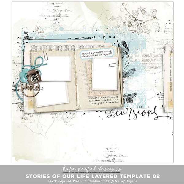 Stories of our Life Layered Template 02 Digital Art - Digital Scrapbooking Kits