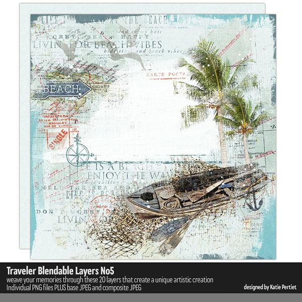 Traveler Blendable Layers 05 Digital Art - Digital Scrapbooking Kits