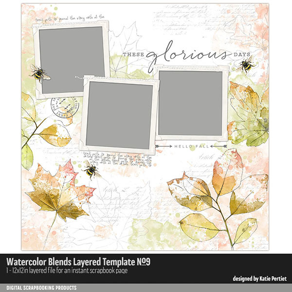 Watercolor Blends Layered Template 09
