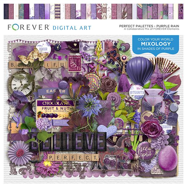 Perfect Palettes - Purple Rain Digital Art - Digital Scrapbooking Kits