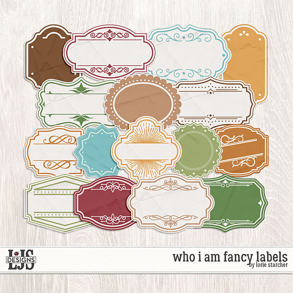 Who I Am Fancy Labels Digital Art - Digital Scrapbooking Kits