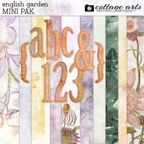 English Garden Mini Pak Digital Art - Digital Scrapbooking Kits