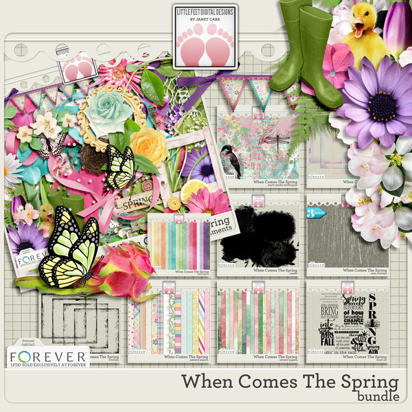 When Comes The Spring Bundle Digital Art - Digital Scrapbooking Kits