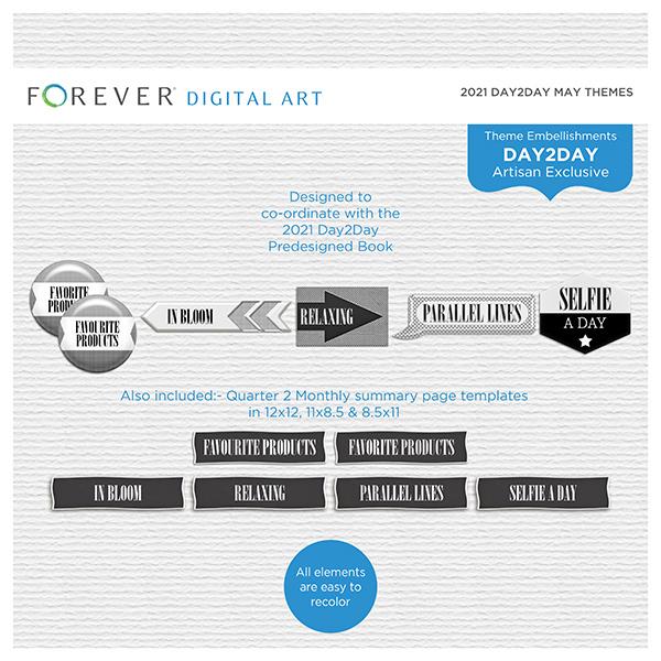 2021 Day2Day May Themes Digital Art - Digital Scrapbooking Kits