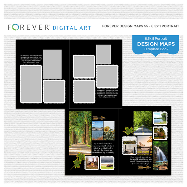 Forever Design Maps 55 - 8.5x11 Digital Art - Digital Scrapbooking Kits