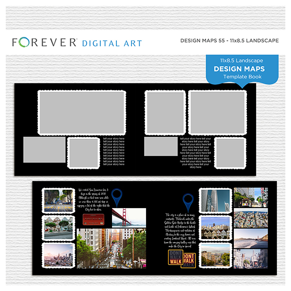 Forever Design Maps 55 - 11x8.5 Digital Art - Digital Scrapbooking Kits
