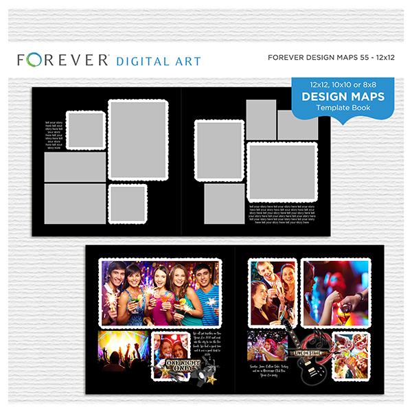 Forever Design Maps 55 - 12x12 Digital Art - Digital Scrapbooking Kits
