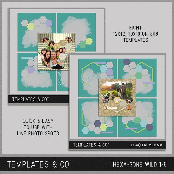 Hexa-gone Wild 1-8 Digital Art - Digital Scrapbooking Kits