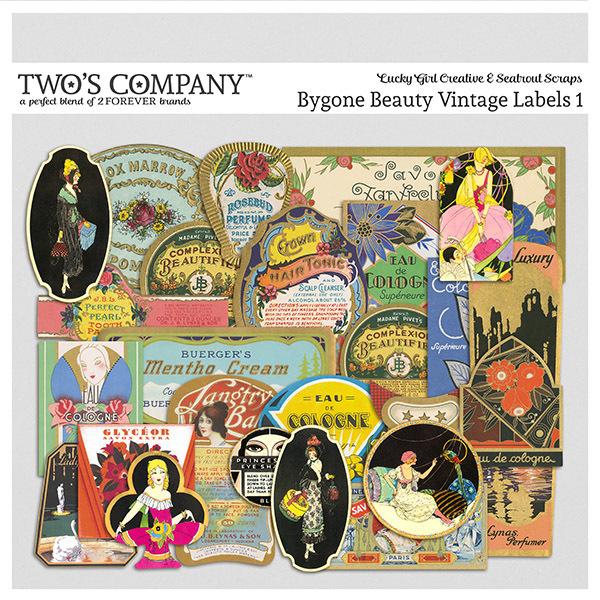 Bygone Beauty Vintage Labels 1 Digital Art - Digital Scrapbooking Kits