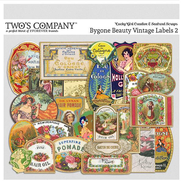 Bygone Beauty Vintage Labels 2 Digital Art - Digital Scrapbooking Kits