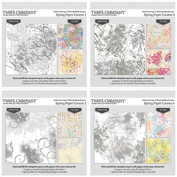 Spring Paper Creator 1-4 Digital Art - Digital Scrapbooking Kits