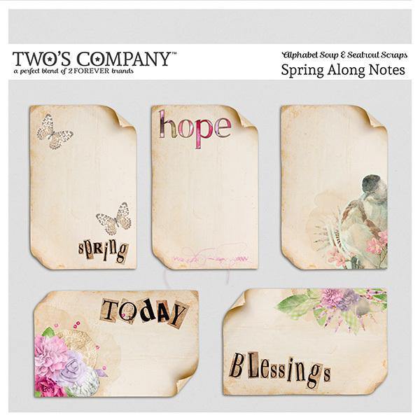 Spring Along Notes Digital Art - Digital Scrapbooking Kits