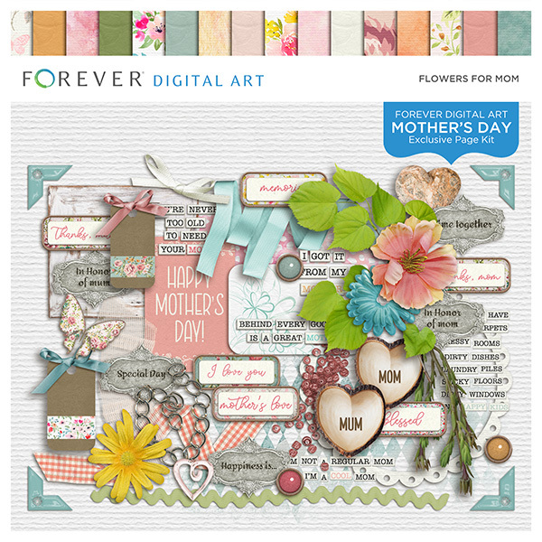 Flowers For Mom Page Kit Digital Art - Digital Scrapbooking Kits