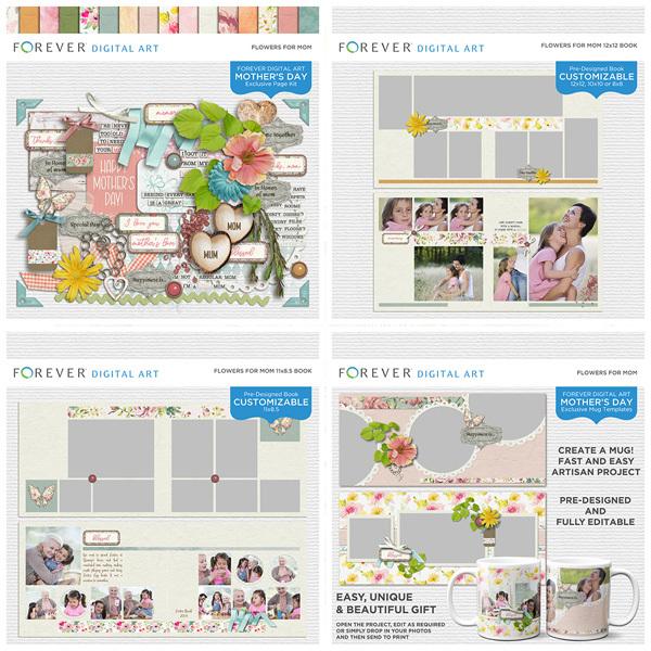 Flowers For Mom Bundle Digital Art - Digital Scrapbooking Kits