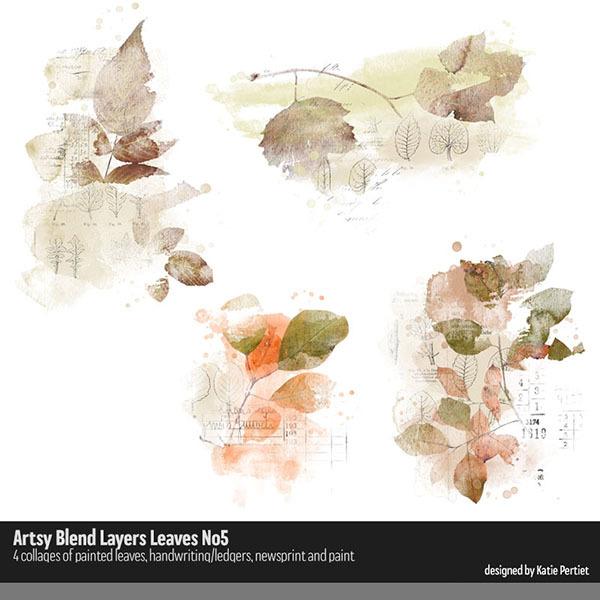 Artsy Blend Layers Leaves 05 Digital Art - Digital Scrapbooking Kits