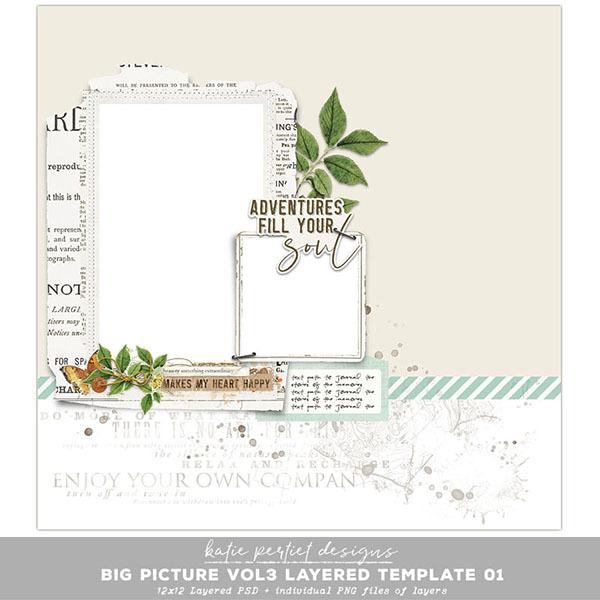 Big Picture Vol. 03 Layered Template 01 Digital Art - Digital Scrapbooking Kits