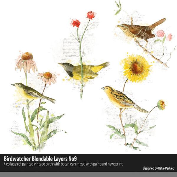 Birdwatcher Blendables 09 Digital Art - Digital Scrapbooking Kits