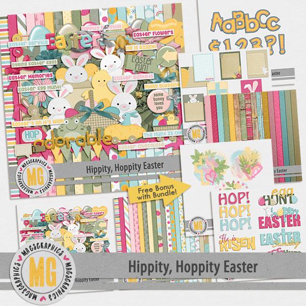 Hippity Hoppity Easter Bundle Digital Art - Digital Scrapbooking Kits