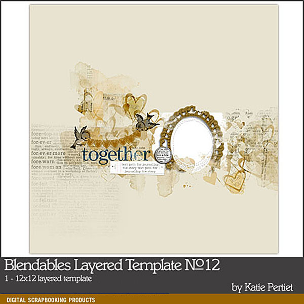 Blendables Layered Template 12 Digital Art - Digital Scrapbooking Kits