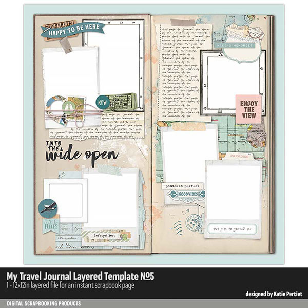 My Travel Journal Layered Template 05 Digital Art - Digital Scrapbooking Kits