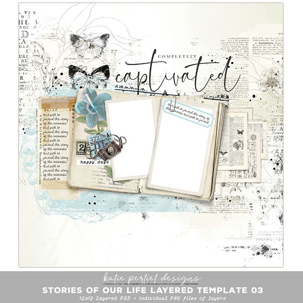 Stories of our Life Layered Template 03 Digital Art - Digital Scrapbooking Kits