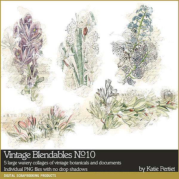 Vintage Blendables 10 Digital Art - Digital Scrapbooking Kits